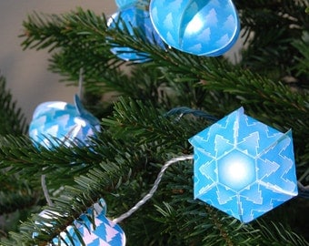 Turquoise gift box and ornaments Printable - decoration for light bulbs - modern garland - Turquoise winter pine trees - Instant download