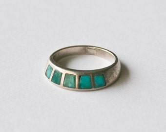 Vintage Turquoise Inlay Silver Stacking Ring