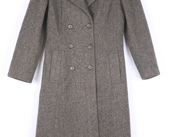 Vintage 1970s Forecaster of Boston Brown Herringbone 100% Wool Long Coat, Sz. 7/8, Double Breasted, Beautiful Two tone buttons, Excellent.