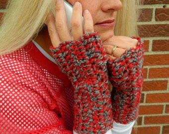Ohio State Gloves, OSU Fingerless Gloves, Wrist Warmers, Texting Gloves, Scarlet and Gray