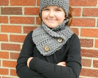 Gray Little Girl Scarf, Girls Crochet Scarf and Headband, Handmade Kids Scarf Set