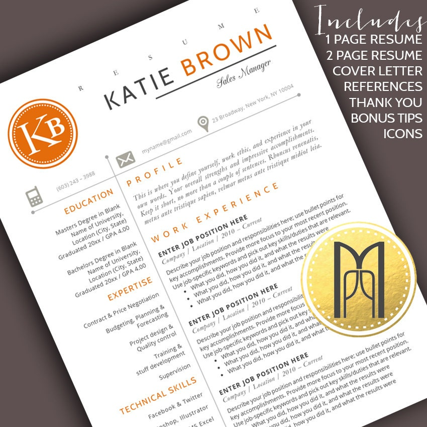 Resume Template And Cover Letter Template Professional