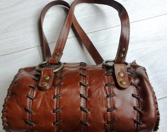 90's Tan leather Barrel Handbag by Shelly's of London