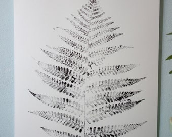 Poster, handmade, original monoprint, fern leaf, Black and white, 30 x 42 cm.