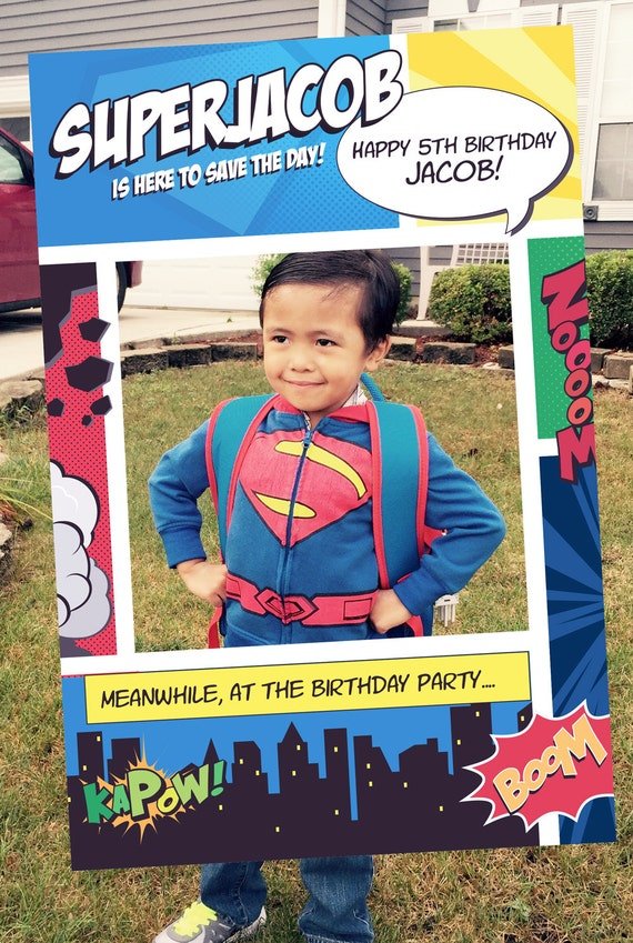 creative ideas to decorate picture frames - Superhero Theme Booth Party Prop Frame Digital by