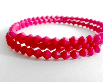 Memory Wire Wrap Beaded Bracelet with Tiny Pink Diamond Beads