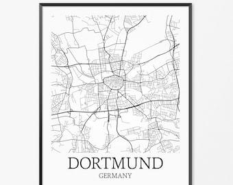 Dortmund Map Art Print, Dortmund Poster Map of Dortmund Decor, Dortmund City Map Art, Dortmund Gift, Dortmund Germany Art Poster