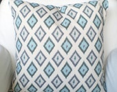 Blue Gray Throw Pillow Covers, Cushions, Couch Pillows, Decorative Pillow, Village Blue Grey Carnival Euro Sham, Throw Pillow, ALL SIZES