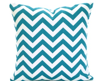 Turquoise Chevron Pillow Covers, Decorative Throw Pillows, Cushions, True Turquoise White Zig Zag, Aqua, Euro Sham, One or More All Sizes