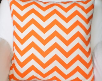 Orange Chevron Pillow Covers, Orange Natural Throw Pillows, Cushion Covers, Couch Pillows, Decorative Pillow, Zig Zag, One or More All Sizes