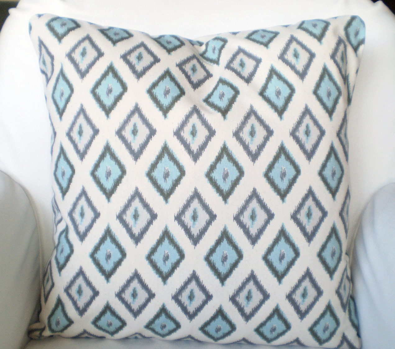 Blue Gray Cream Throw Pillow Covers By Pillowcushioncovers
