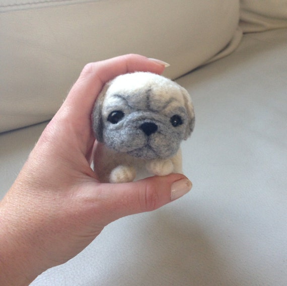 Needle felted dog unique pug gift puppy felted animal cute for Unusual dog gifts