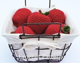 Crochet Apple Pattern, Crochet Food Pattern, Fall Crochet Pattern, Crochet Toy Pattern, Crochet Teacher Gift, Crochet Apple PDF, Amigurumi