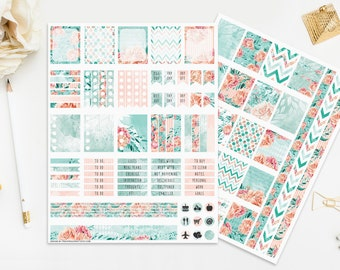 Watercolor Flowers Stickers, Emerald Mint Peach Teal Pink Coral Floral, Peonies Roses, Digital Instant Download Print Cut, Romantic Planner