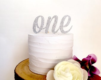 Silver Glitter First Birthday Cake Topper - number ONE