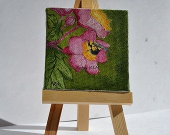 Tiny Oil Painting a bee on Pink Anemone flower.