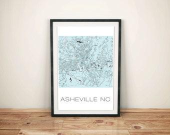 Asheville Art, Asheville Print, Asheville Map, Map Poster, Wall Decor, Wall Art, Mountains, Asheville NC