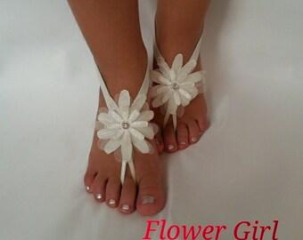 ivory , pink , white , black  Flower girl anklet  embrodeired Beach wedding  sandals bangle wedding anklet children's shoes  kids  princess