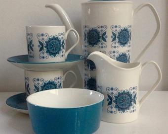 "Vintage, Johnson Bros, ""Engadine"" (Snowhite) Coffee Set"