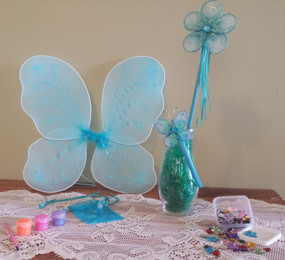 I 39 m a fairy craft kit aqua wings wand pixie dust for Princess wand craft kit