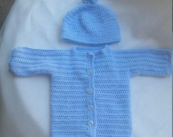 crochet baby sweater and hat set, crochet sweater, crochet hat, newborn sweater,blue hat, blue baby hat, blue baby sweater, newborn blue hat