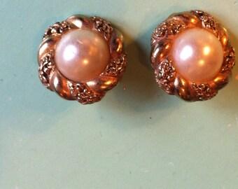 1950s crystal faux pearl deco earrings retro pierced earrings antique earrings