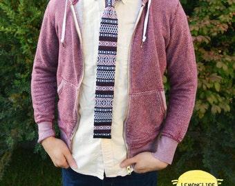 Knit Necktie, Knit Tie, Pattened Knit Tie, Trendy Knit Tie, Red and Blue Knit Tie, Valentine's Day