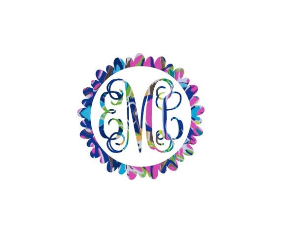 Free Shipping-Shrimply Chic Flower Monogram Decal, Lilly Pulitzer inspired decal sticker, Personalized,Yeti, Laptop,Monogram Sticker