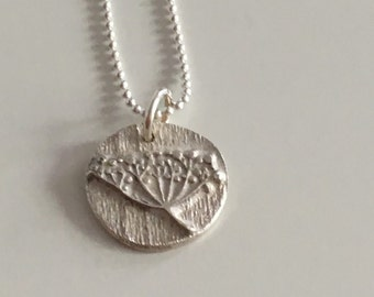 Elder flower pendant necklace made of fine silver with sterling silver chain