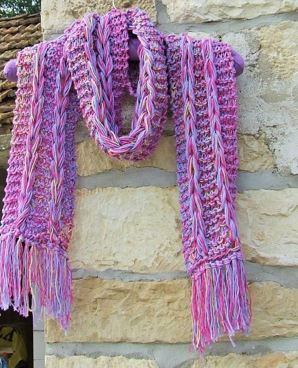 Knit cotton scarf Multi knit scarf Boho scarf Rainbow