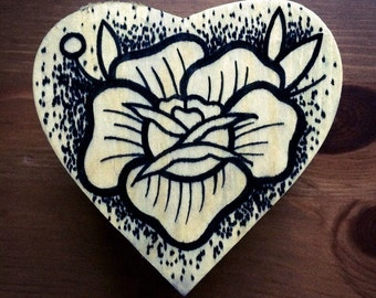 Traditional tattoo inspired hand drawn linework/dotwork rose vintage 9cm x 9cm x 4cm wooden heart shaped box by Leasha Jacques