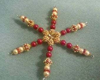 Red and Gold Beaded snowflake