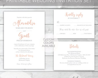 Coral/Gray Printable Wedding Invitation Set | Classic | Alexandra Collection | RSVP & Details/Enclosure Card | Custom Colors Available