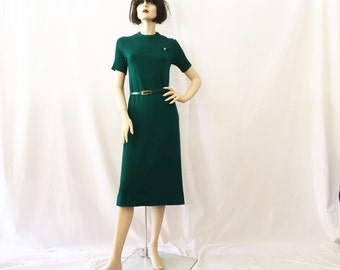 60s Mod Emerald Green Wool Belted Knit Midi Dress
