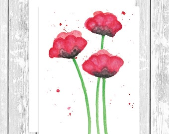 "NOTECARD: Abstract Red Poppies, Red Poppy Whimsical 4.25"" x 5.5"" A2 Greeting Card, Gift for Her, Gift for Friend, Gift for Flower Lover"