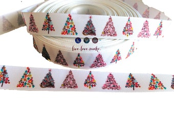 """7/8"""" Fancy Chistmas Trees-Tree-Swirl-Holiday-Grosgrain-Ribbon by the Yard-Hair bow-Scrapbooking-Crafts-Gift Wrap-Red Heel"""