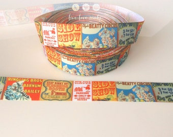 """1"""" Vintage Style Circus Theme Grosgrain Ribbon- Ribbon by the Yard-Hairbow-Scrapbook-Gift Wrap-party supplies-clown-animals-birthday party"""