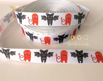 "7/8"" Devil-Bats-Grosgrain Ribbon-Halloween-Ribbon by the Yard-Hair bow-Scrapbooking-Crafts-Gift Wrap-Party Supplies-trim-Boo-ghost-vampire"