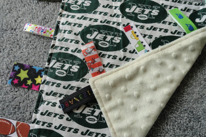 New York Jets Baby Lovey Blanket Sensory Blanket Ivory Minky
