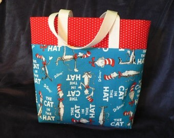 Childrens Dr.Seuss Tote Bag Girls Library Bag Boys Library Tote Bag Cat in the Hat Blue Red