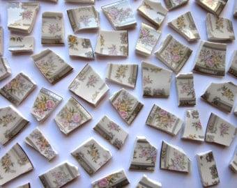 65 Mosaic Pieces, Broken China Pieces, China Mosaic Tiles, Vintage China Tiles