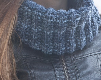 Blue Knit Scarf, collar scarf, Chunky Scarf, winter accessories