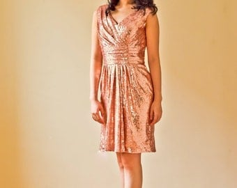 Short Ruched Rose Pink Sequin Bridesmaid Prom Dress with Open V Back