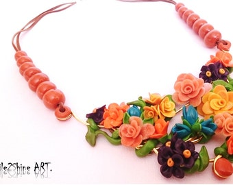 Polymer clay jewelry Flower statement necklace Bib necklace Spring necklace Summer necklace Floral jewelry Anniversary gift for her Birthday
