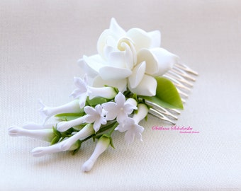 Wedding comb, comb hair comb with gardenia, comb in her hair, comb for brides, flower comb, comb with stephanotis, wedding decorations