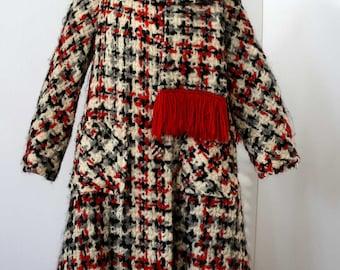 Lilli Ann Coat | 1960s Lilli Ann Tweed Coat, Scarf | 60s Oversized Plaid  Wool Lilli Ann