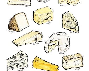 Watercolour cheese selection A4 print