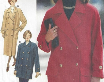1990s Duffle Coat Double Breasted Car Lapels, Patch Pockets, Lined, Vent, Midi, Butterick 3639, Size 6 8 10, Vintage Sewing Pattern, Uncut