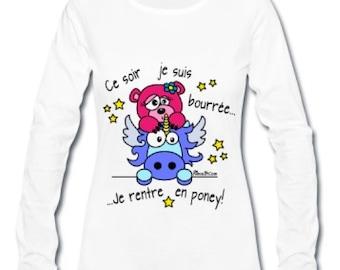 T-shirt long sleeves - women pattern: Nimalobisounours/pony
