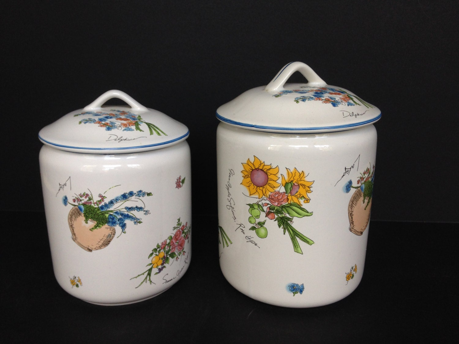 1990s two white ceramic kitchen canisters w fruit for Kitchen jar decoration